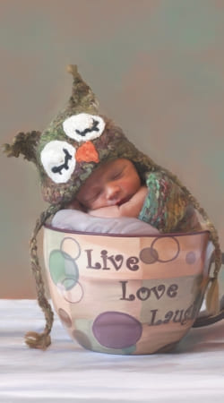 cover Painting Baby With Owl Cap in a Teacup