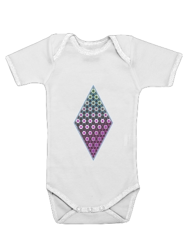 Onesies Baby Abstract bright floral geometric pattern teal pink white