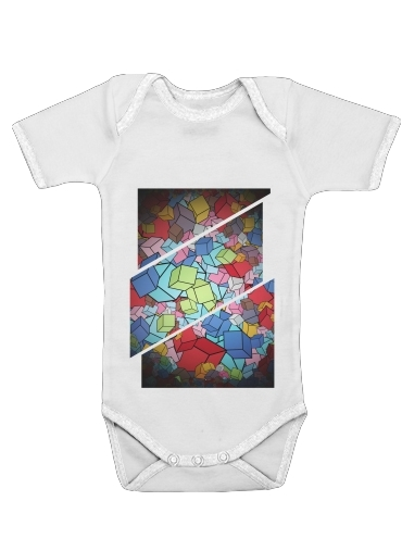 Abstract Cool Cubes for Baby short sleeve onesies
