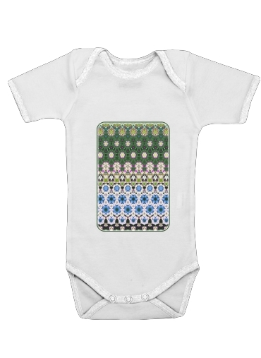 Onesies Baby Abstract ethnic floral stripe pattern white blue green