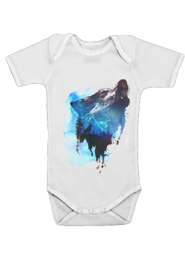 Alone as a wolf for Baby short sleeve onesies