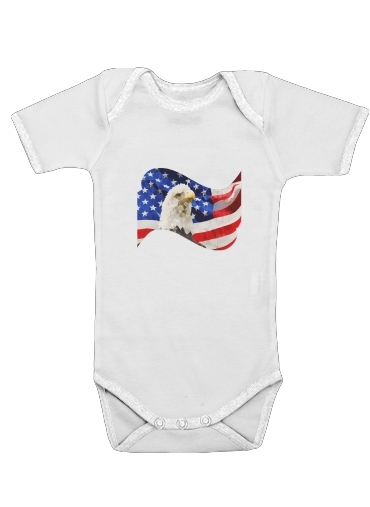American Eagle and Flag for Baby short sleeve onesies