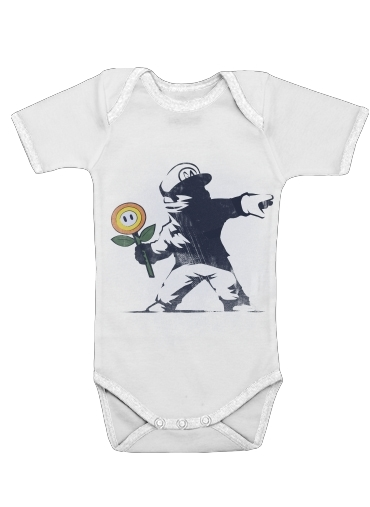 Banksy Flower bomb for Baby short sleeve onesies