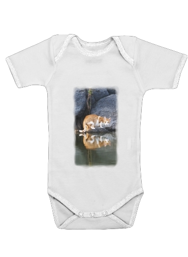 Onesies Baby Cat Reflection in Pond Water