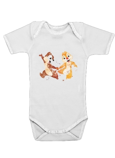 Chip And Dale Watercolor for Baby short sleeve onesies
