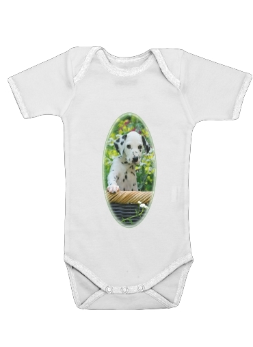 Onesies Baby Cute Dalmatian puppy in a basket