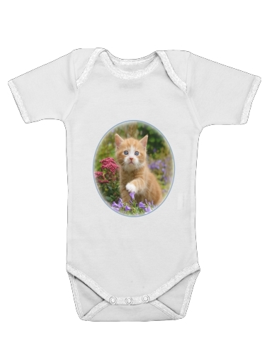 Cute ginger kitten in a flowery garden, lovely and enchanting cat for Baby short sleeve onesies