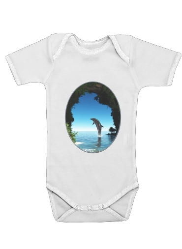 Dolphin in a hidden cave for Baby short sleeve onesies