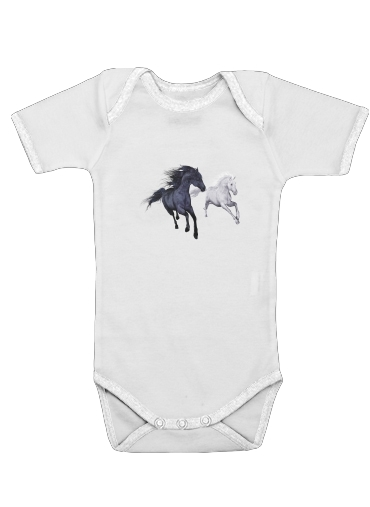 Horse freedom in the snow for Baby short sleeve onesies