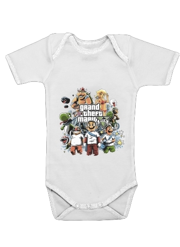 Grand Theft Mario for Baby short sleeve onesies