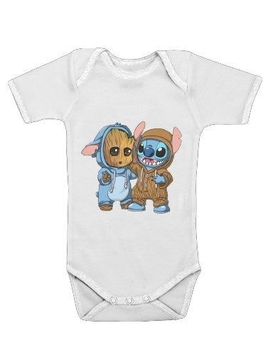 Groot x Stitch for Baby short sleeve onesies