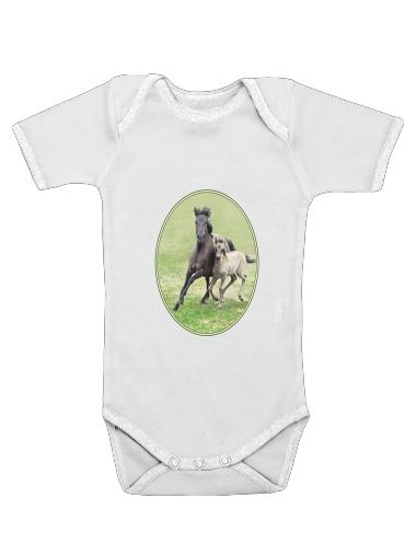 Horses, wild Duelmener ponies, mare and foal for Baby short sleeve onesies