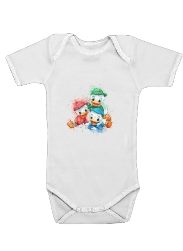 Onesies Baby Huey Dewey and Louie watercolor art