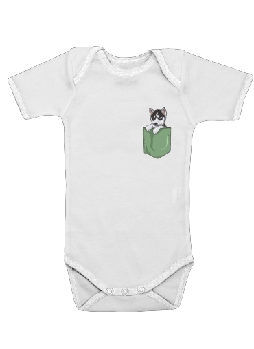Onesies Baby Husky Dog in the pocket