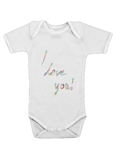 I love you - Rainbow Text for Baby short sleeve onesies