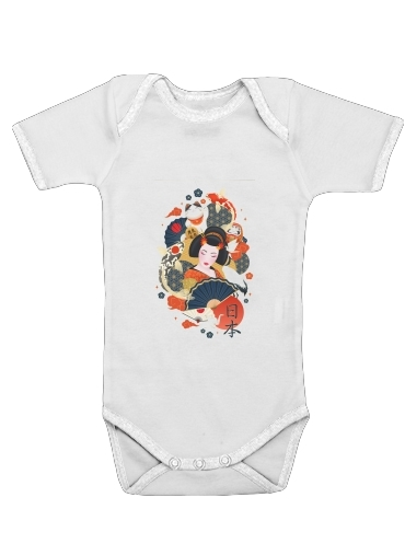 Onesies Baby Japanese geisha surrounded with colorful carps
