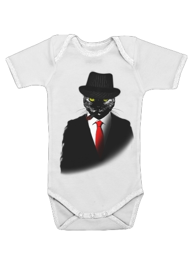 Mobster Cat for Baby short sleeve onesies