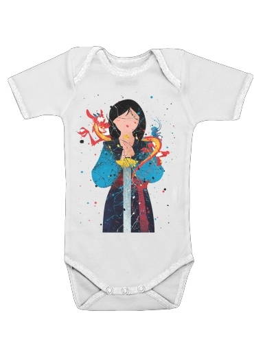Mulan Princess Watercolor Decor for Baby short sleeve onesies