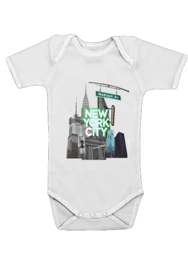 New York City II [green] for Baby short sleeve onesies
