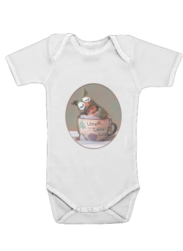Painting Baby With Owl Cap in a Teacup for Baby short sleeve onesies