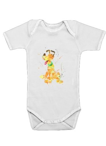 Pluto watercolor art for Baby short sleeve onesies
