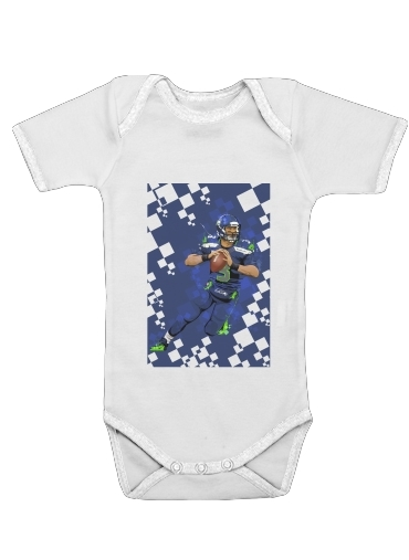 Seattle Seahawks: QB 3 - Russell Wilson for Baby short sleeve onesies