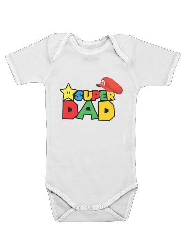 Super Dad Mario humour for Baby short sleeve onesies