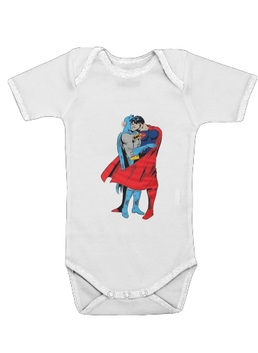 Onesies Baby Superman And Batman Kissing For Equality