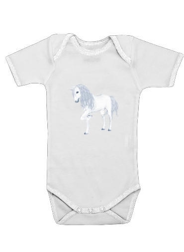 The White Unicorn for Baby short sleeve onesies