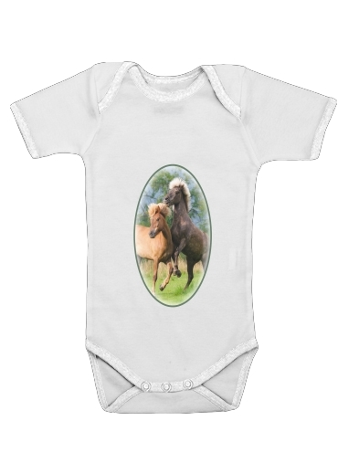 Two Icelandic horses playing, rearing and frolic around in a meadow for Baby short sleeve onesies