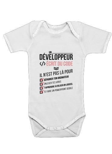 Un developpeur ecrit du code Stop for Baby short sleeve onesies