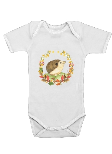 Onesies Baby watercolor hedgehog in a fall woodland wreath