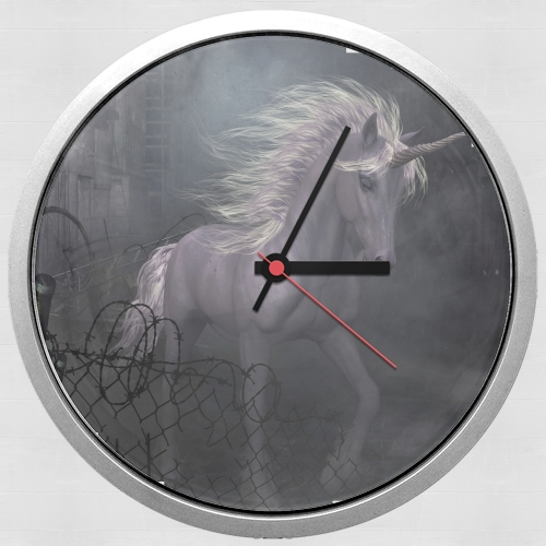 A dreamlike Unicorn walking through a destroyed city for Wall clock