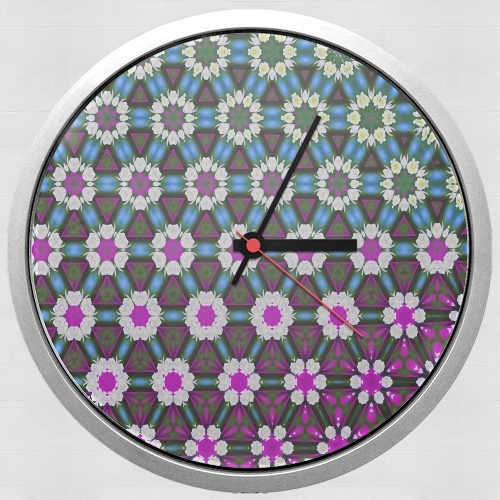 Abstract bright floral geometric pattern teal pink white for Wall clock