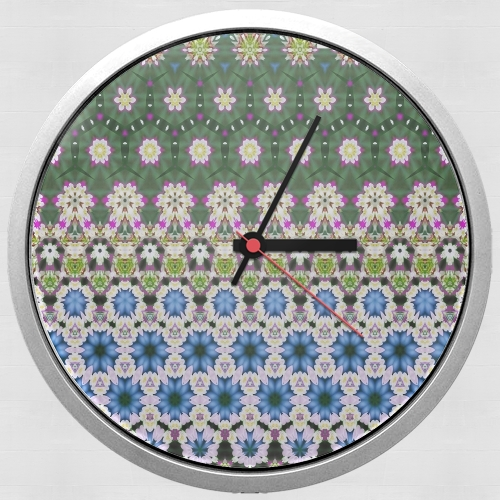 Abstract ethnic floral stripe pattern white blue green for Wall clock