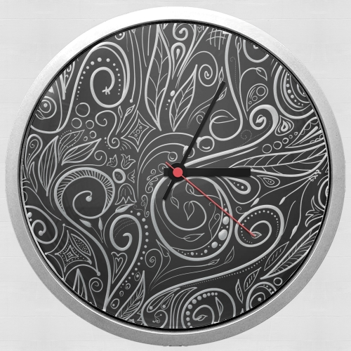 Black Silver Damasks for Wall clock