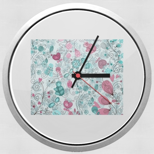 doodle flowers and butterflies for Wall clock