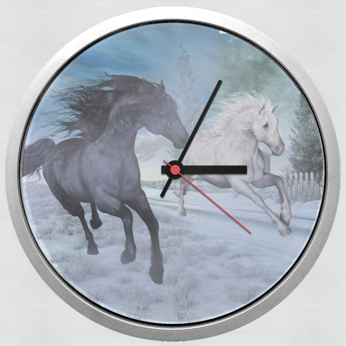 Horse freedom in the snow for Wall clock