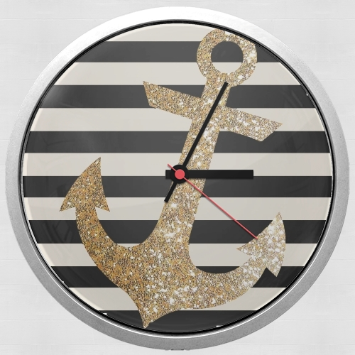 gold glitter anchor in black for Wall clock