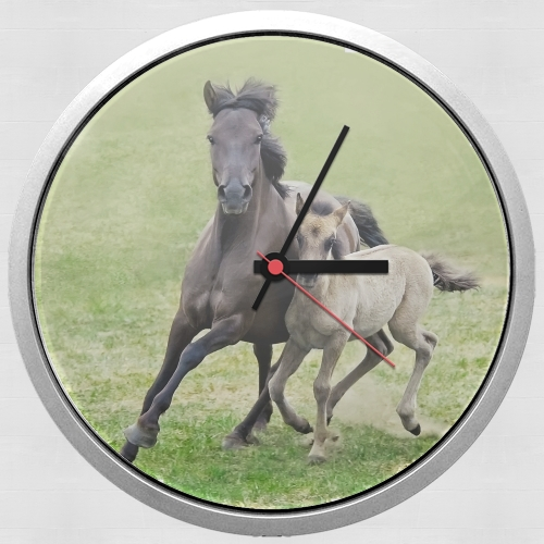 Horses, wild Duelmener ponies, mare and foal for Wall clock