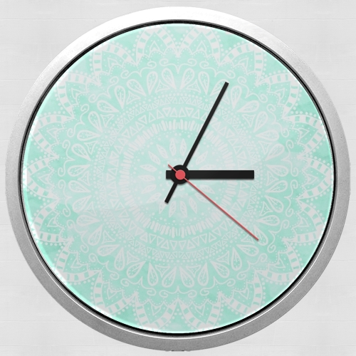 Mint Bohemian Flower Mandala for Wall clock