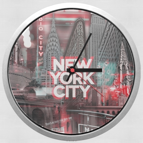 New York City II [red] for Wall clock