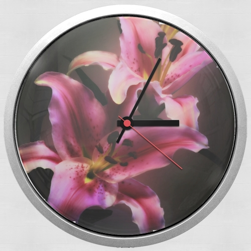 Painting Pink Stargazer Lily for Wall clock