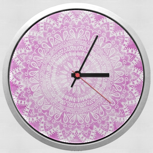 Pink Bohemian Boho Mandala for Wall clock