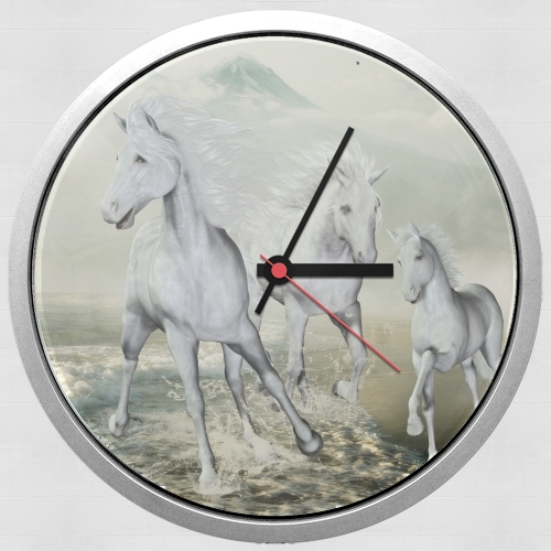 White Horses on the beach for Wall clock