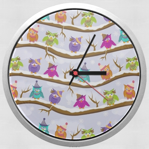 winter owls for Wall clock