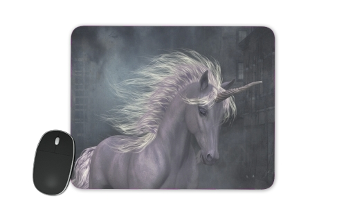 A dreamlike Unicorn walking through a destroyed city for Mousepad