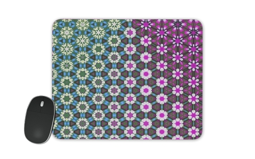 Abstract bright floral geometric pattern teal pink white for Mousepad