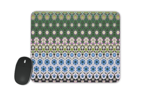 Abstract ethnic floral stripe pattern white blue green for Mousepad