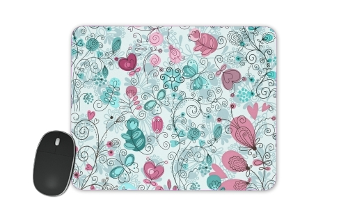 doodle flowers and butterflies for Mousepad